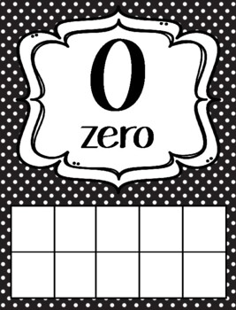 Black & White Polka Dot Theme Classroom Ten Frames Posters 0-20