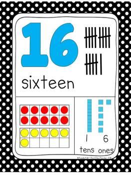 Black Dot Numbers 0-30 Posters (Ten Frames, Tallies, Base Ten)