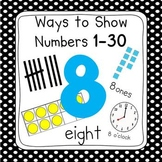 Black Dot Numbers 0-30 Posters (Ten Frames, Tallies, Base Ten)