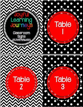 Black &White Polka Dot and Chevron Signs for Tables, Flexible Seating, Centers