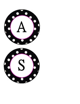 Black & White Polka Dot circles CLASS RULES letters-Hot Pink Outline