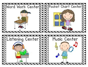 Black & White Polka Dots Center Cards