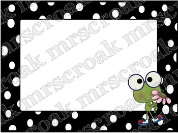 Labels: Frog with B&W polka dots, 10 per page