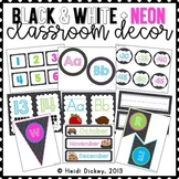 Black & White Polka Dots with Neon Accents Classroom Decor