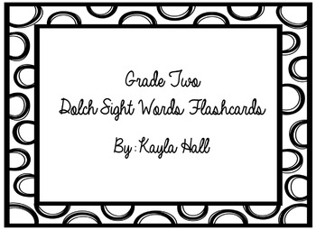 Black & White Polka Dotted 2nd Grade Dolch Sight Words Flashcards