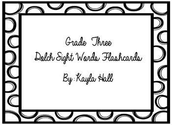 Black & White Polka Dotted 3rd Grade Dolch Sight Words Flashcards