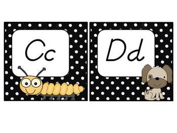 Word Wall Headers: black & white polka dots (D'Nealian)