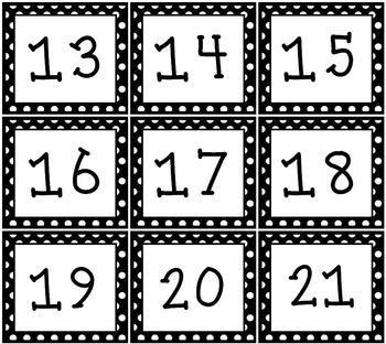 Black & White Polka dot Pocket Chart or Wall Calendar Set