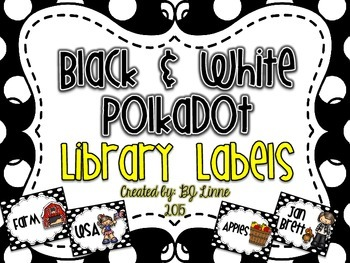 Black & White Polkadot Library Labels
