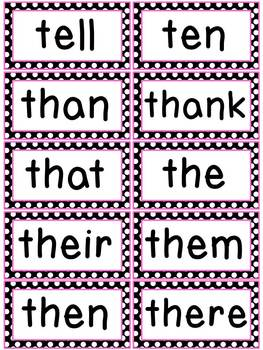 Black and White Polka Dots with Pink Word Wall Words and Headers