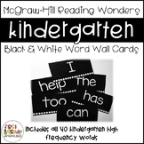 Black & White Reading Wonders Word Wall Cards - Kindergarten [EDITABLE]