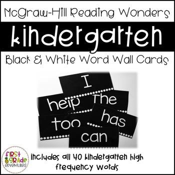 Black & White Reading Wonders Word Wall Cards - Kindergart