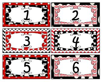 Black White Red Chevron and Polka Dot Theme Labels