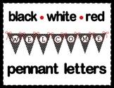Black, White & Red Pennant Letters {Polka Dot}