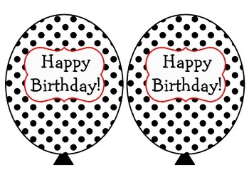 Black White Red Polka Dot Birthday Balloons