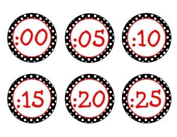 Black, White, Red Polka Dot Clock Labels