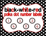 Black, White, Red Polka Dot Student Number Labels