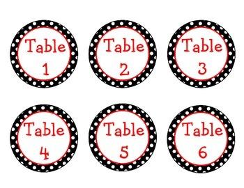 Black, White, Red Polka Dot Table Labels