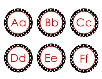 Labels - Black, White, Red Polka Dot Word Wall Letters