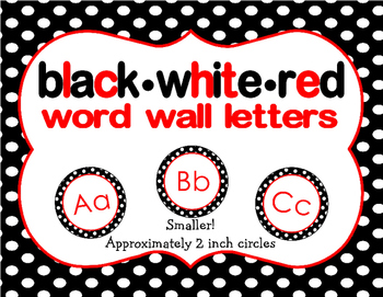 Black, White, Red SMALL Word Wall Labels