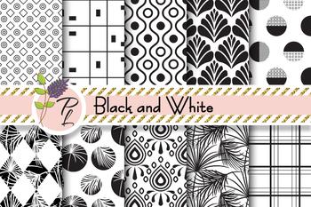 Black & White Seamless Pattern Set. Digital paper pack.