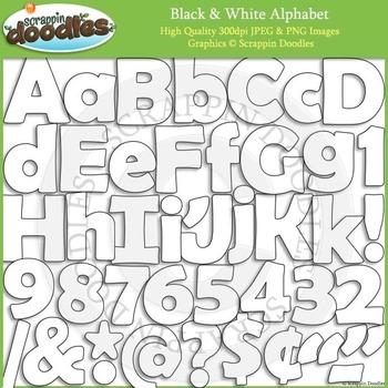 Black & White Solid Line Alphabet