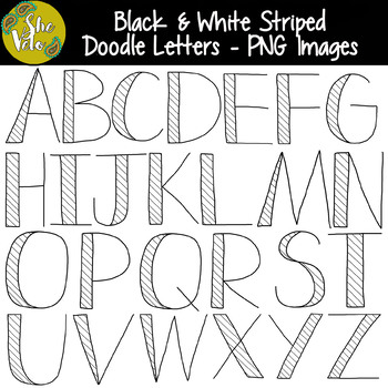 Black white striped doodle letters hand drawn clip art set by black white striped doodle letters hand drawn clip art set altavistaventures Images
