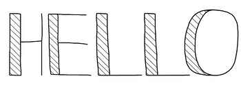 Black & White, Striped Doodle Letters, Hand-Drawn Clip Art Set