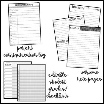 Black & White Teacher Binder, Calendar & Planner (Printer Friendly!)