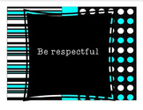 Black White Teal Customizable Classroom Rules
