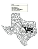 Black & White Texas Map Coloring Sheet. Contains State Facts