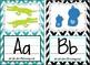 Black, White, & Turquoise Blue Chevron Classroom Bundle