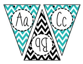 Black, White, & Turquoise Blue Chevron Classroom Bundle Alphabet Bunting Banner