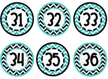 Black, White, & Turquoise Blue Chevron Classroom Bundle Custom Add-Ons
