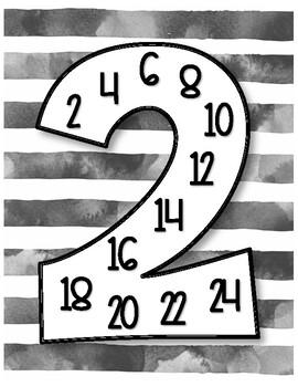 Black & White Watercolor Multiples Multiplication Poster Set - Minimalistic