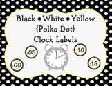 Black, White, Yellow {Polka Dot} Clock Labels