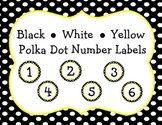 Black, White, Yellow {Polka Dot} Student Number Labels