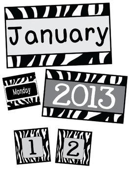Black & White Zebra Calendar Pack