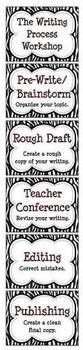 Black & White Zebra Stripe Writing Process Workshop Displays & Clip Chart