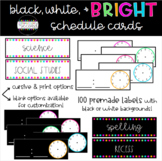 Black, White and BRIGHT Schedule Cards - EDITABLE