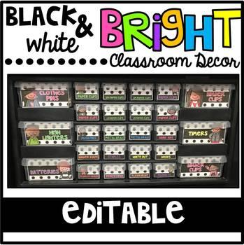 Black White and Bright Editable Classroom Decor Bundle
