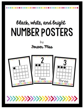 Black, White, and Bright Number Posters