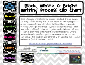 Black White and Bright Writing Process Clip Chart
