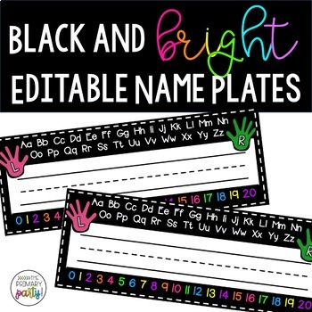 Black, White, and Brights Name Plates