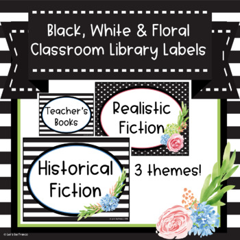 Black, White and Floral Library Book Bin Labels