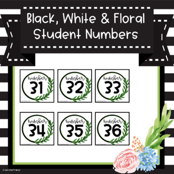 Black, White, and Floral Student Numbers 1-36