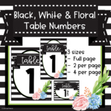 Black, White and Floral Table Numbers 1-10