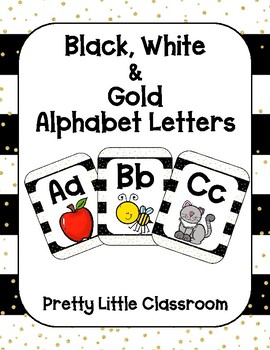Black, White and Gold Alphabet Letters