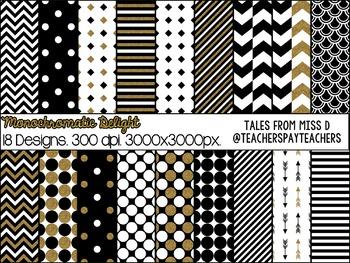 Black White Gold Digital Paper
