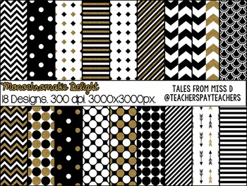 Black White Gold Digital Paper